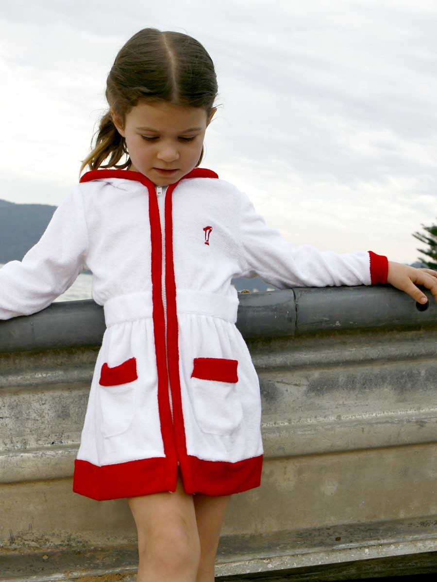 398eef5583 Girls Beach Cover Up | Sail Away | White & Red – Terry Rich Australia